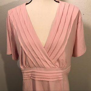 Beautiful Soft Pink Pleated Blouse!